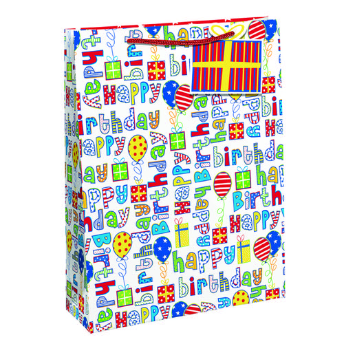 Happy Birthday Gift Bag Large (Pack of 6) 26955-2