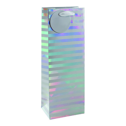 Striped Bottle Bag White/Silver (Pack of 6) 26658-4