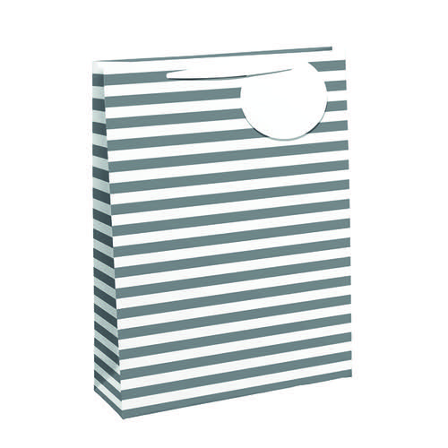 Striped Gift Bag Large White/Silver (Pack of 6) 26658-2