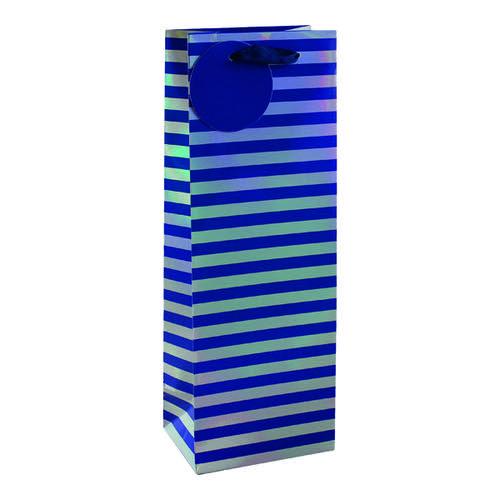 Striped Bottle Bag Blue/Silver (Pack of 6) 26655-4