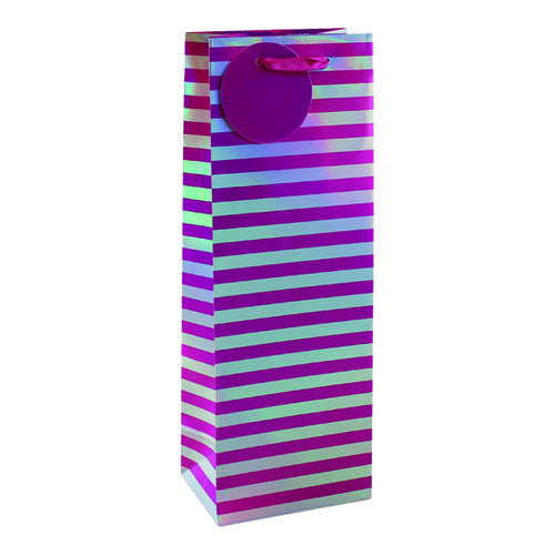 Striped Bottle Bag Pink/Silver (Pack of 6) 26652-4