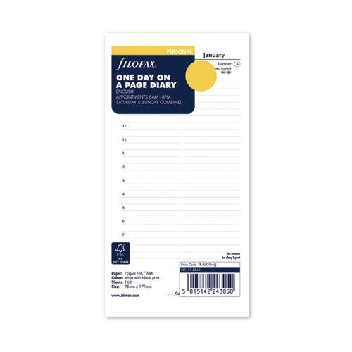 Filofax Refill Day Per Page Personal 2022 22-68441
