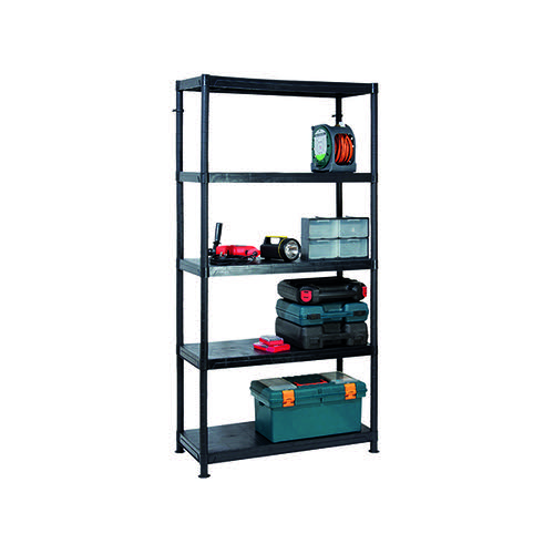 Barton 5 Tier Plastic Shelving 1840x900x400mm Black G09045