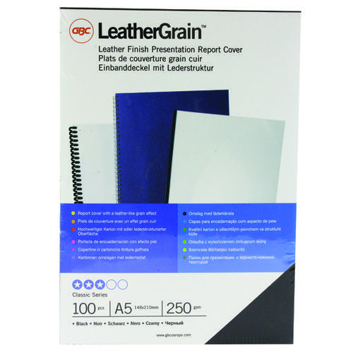 GBC LeatherGrain A5 Binding Covers 250gsm Black (Pack of 100) 4400017