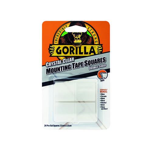 Gorilla Mounting Tape Squares Clear (Pack of 24) 3044111