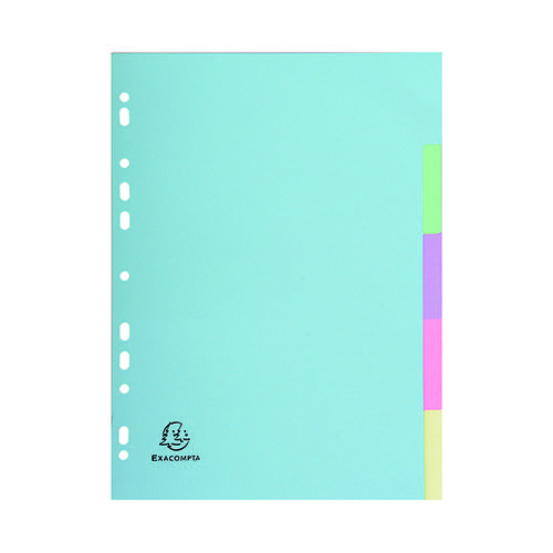 Exacompta Recycled Dividers 5-Part A4 Pastel 1605E