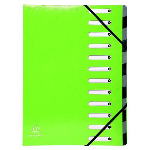 Exacompta Iderama 12-Part File A4 Lime 53923E