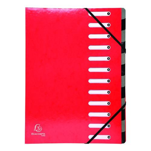 Exacompta Iderama 12-Part File A4 Red 53925E