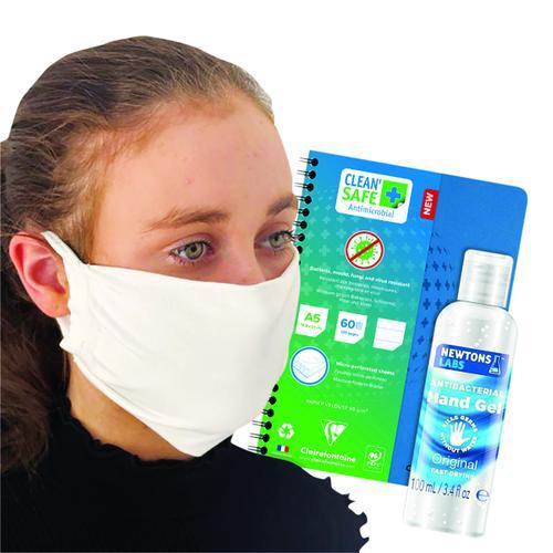 Clean Safe A5 Notebook FOC Antibac Hand Gel 100ml & Mask GH811516