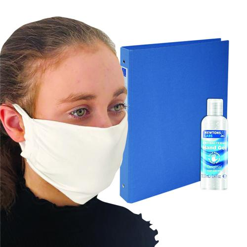 Exacompta A4 Ring Binder 30mm 4 Ring Blue FOC Hand Gel & Mask GH811520