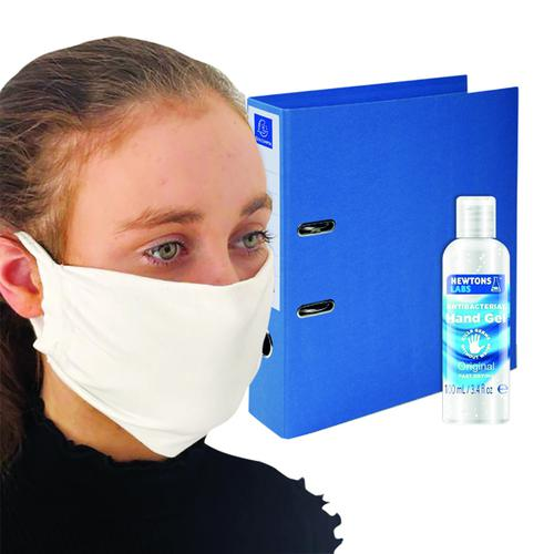 Exacompta Lever Arch File 70mm Blue FOC Hand Gel 100ml & Mask GH811521 by ExaClair Limited, GH811521