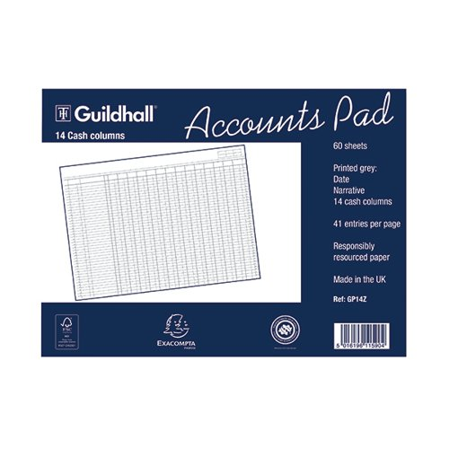 Exacompta Guildhall 14-Column Cash Account Pad 298x406mm GP14