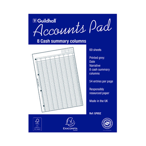 Exacompta Guildhall Account Pad 8-Column Summary A4 GP8S