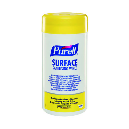 Purell Surface Sanitiser Anti-Bacterial/Viral Cleaning Wet Wipes (Tub of 100) Bulk or Singles