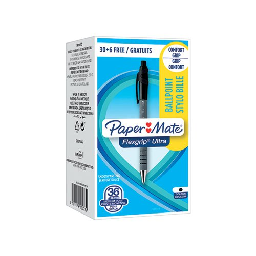 PaperMate FlexGrip Ultra Retract Ball Pen Black (Pack of 36) 1910073