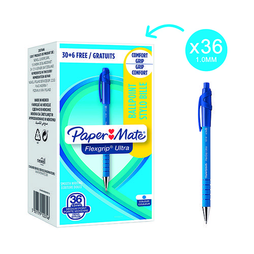 PaperMate FlexGrip Ultra Retract Ball Pen Blue (Pack of 36) 1910074