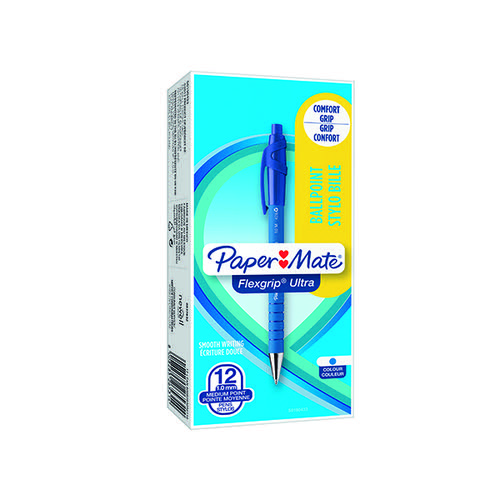 PaperMate Flexgrip Ultra Retract Ball Pen Blue (Pack of 12) S0190433