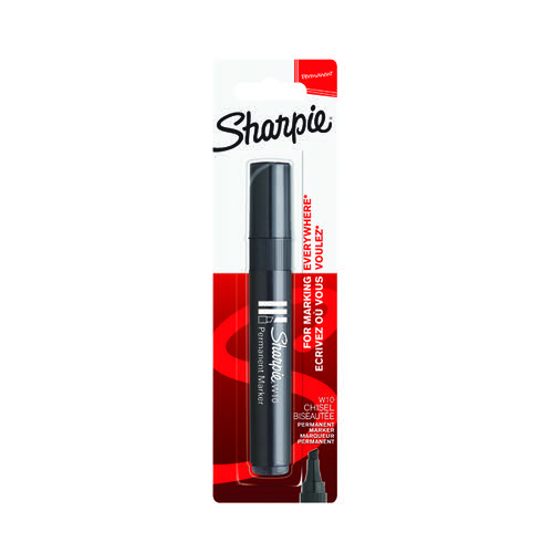 Sharpie W10 Permanent Marker Chisel Tip Black Blister (Pack of 12) S0192667