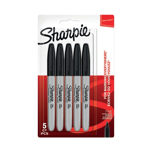Sharpie Permanent Marker Fine Black (Pack of 5) 1986051 by Newell Brands, GL86051