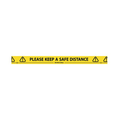 "Social Distancing Sticky Floor Tape Roll ""Please Keep a Safe Distance"" - This piece is 500mm"