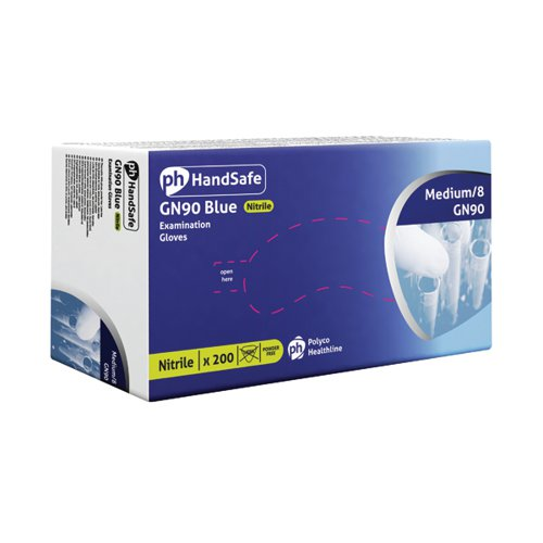 Hand-Safe Powder-Free Nitrile Gloves Medium Blue (Pack of 200) GN90