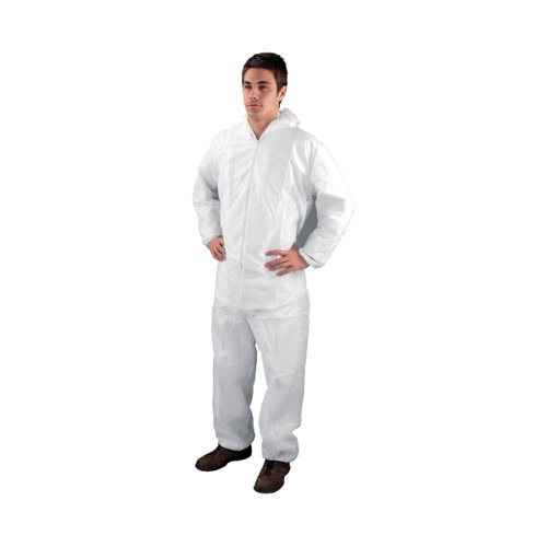 Non-Woven Coverall Large 44-46 Inch White DC03