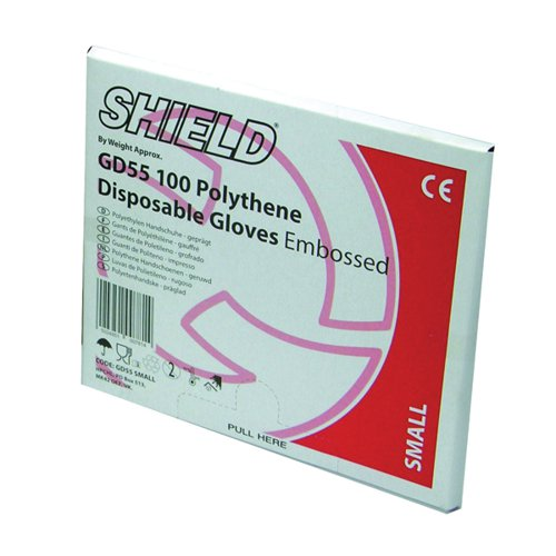 Shield Embossed Polythene Gloves For Black Dispenser Large (Pack of 100) GD55