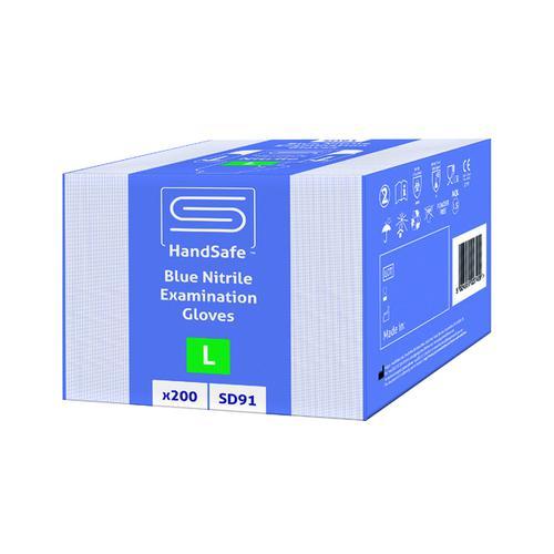 SafeDon Large Nitrile Gloves Blue (Pack of 200) SD91/L