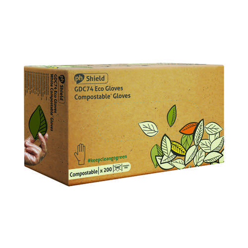 Shield Compostable Disposable Gloves Small (Pack of 200) GDC74/S