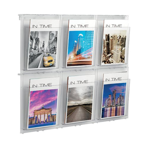Helit Placativ Wall Display 6 x A4 Pockets Clear H6812002