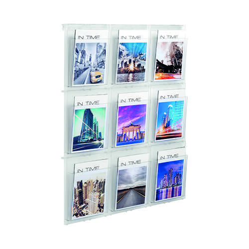 Helit Placativ Wall Display 9 x A4 Pockets Clear HS812102