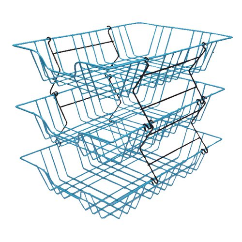 Wire Filing Tray A4 Blue (W280 x D380 x H70mm Risers Available Seperately) 999BL