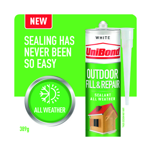 UniBond Outdoor Fill and Repair Cartridge White 280ml 2652146