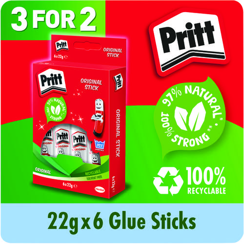 Pritt Stick Medium 22g Glue Stick (3 Packs of 6) 1456071