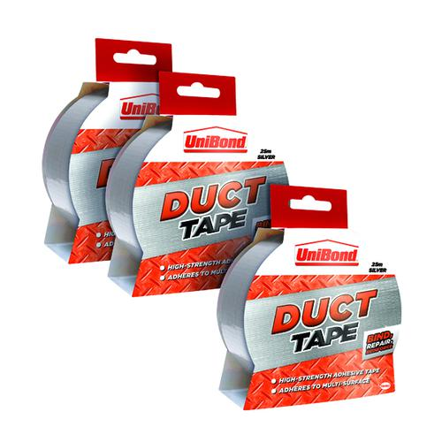 Unibond Duct Tape 50mm x 25m Silver 3 for 2 HK810864