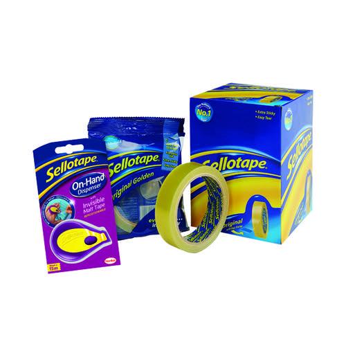 Sellotape Golden Tape 24mmx66m FOC Dispenser (Pack of 6) HK810869