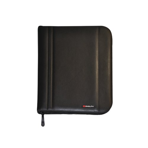 Monolith Leather Look Zipped Ring Binder PU A4 Black 2754
