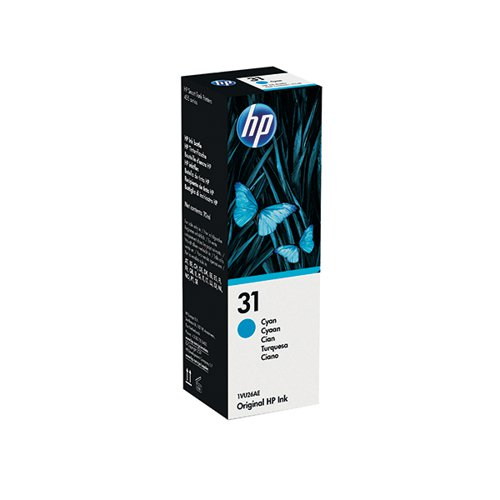 HP 31 Cyan Ink Bottle (70ml Capacity) 1VU26AE