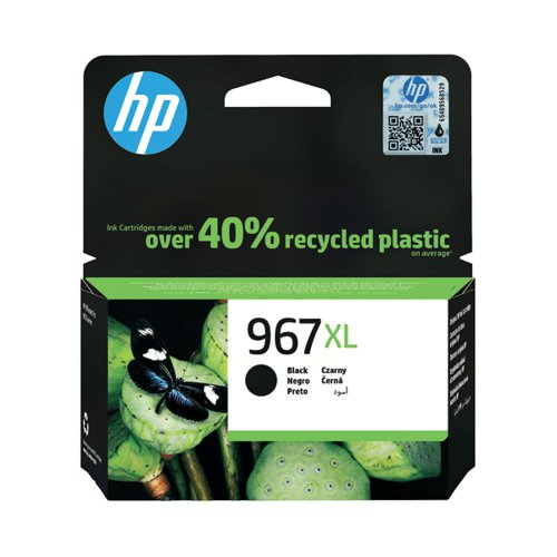 HP 967XL Original Black Ink Cartridge Extra High Yield (3000 page capacity) 3JA31AE