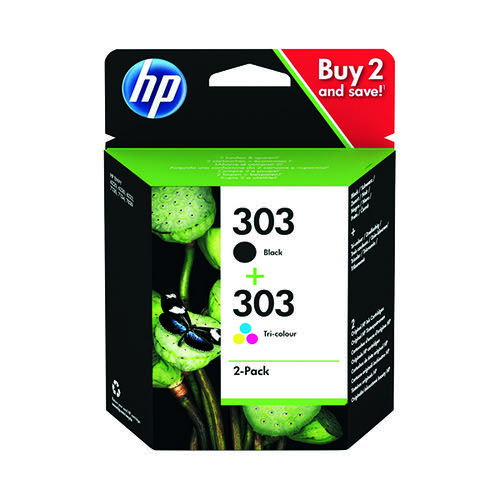 HP 303 2 Pack Tri-colour Black Original Ink Cartridge 3YM92AE