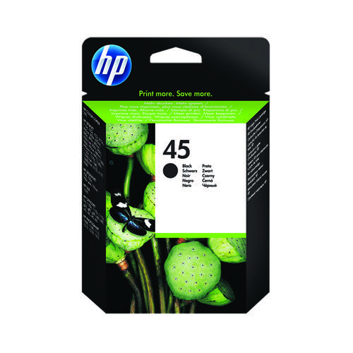 HP 45 Black Inkjet Cartridge (Standard Yield 42ml) 51645AE