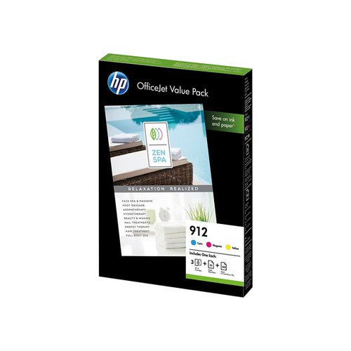 HP 912 CMY Ink and A4 Paper Office Value Pack 6JR41AE
