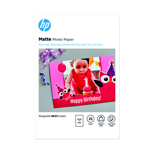 HP Matte FSC Photo Paper 4x6 Inch (Pack of 25) 7HF70A