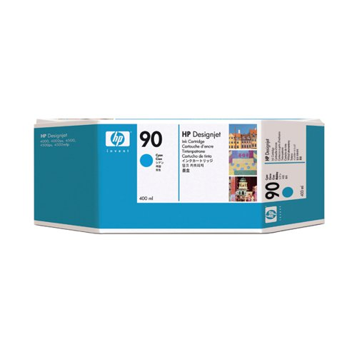 HP 90 Cyan Inkjet Cartridge High Yield 400ml Capacity C5061A