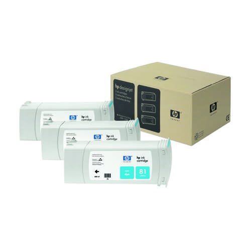 HP 81 Cyan DesignJet Dye Ink Cartridges (Pack of 3) C5067A