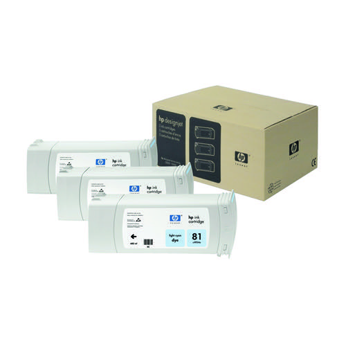 HP 81 Light Cyan DesignJet Dye Ink Cartridges (Pack of 3) C5070A