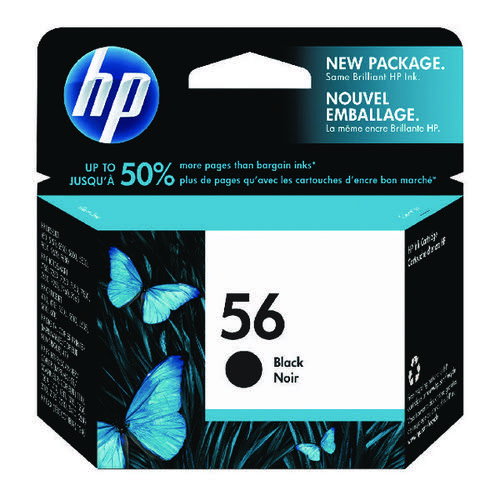 HP 56 Black Inkjet Cartridge (Standard Yield 450 Page Capacity) C6656AE
