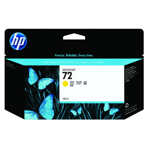 HP 72 Yellow Ink Cartridge (High Yield 130ml Capacity) C9373A