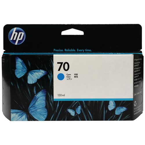 HP 70 Cyan Inkjet Cartridge (Standard Yield, 130ml Capacity) C9452A