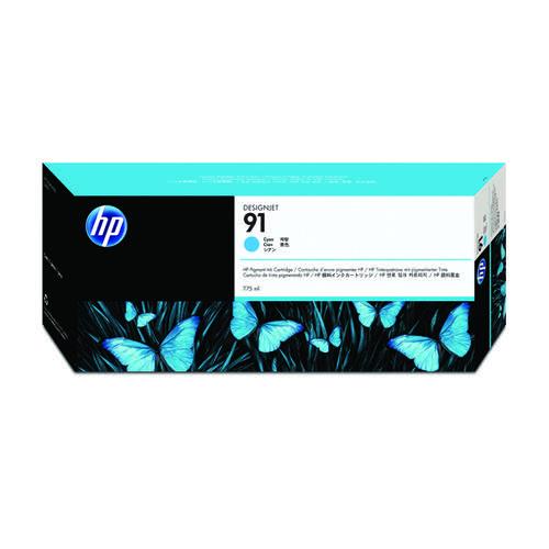 HP 91 Cyan Inkjet Cartridge (Standard Yield 775ml Capacity) C9467A